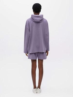 Hooded Long Sleeve Pocket T-shirt Purple by Vaara - 3