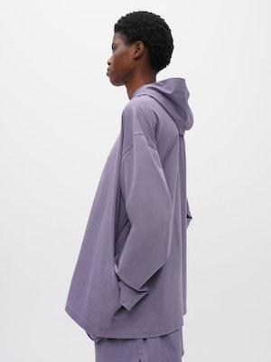 Hooded Long Sleeve Pocket T-shirt Purple by Vaara - 4
