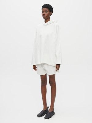 Hooded Long Sleeve Pocket T-shirt White by Vaara - 3