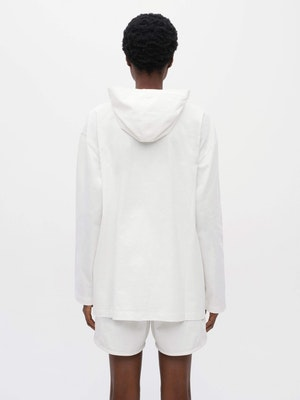 Hooded Long Sleeve Pocket T-shirt White by Vaara - 4